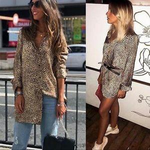 NEW Zara Trafaluc Leopard Long Button Down Top